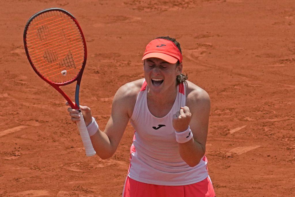 Tamara Zidansek celebrates