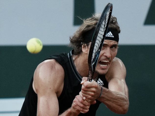 Germany's Alexander Zverev in action at the French Open