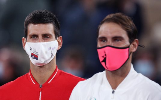 Novak Djokovic and Rafael Nadal post-match
