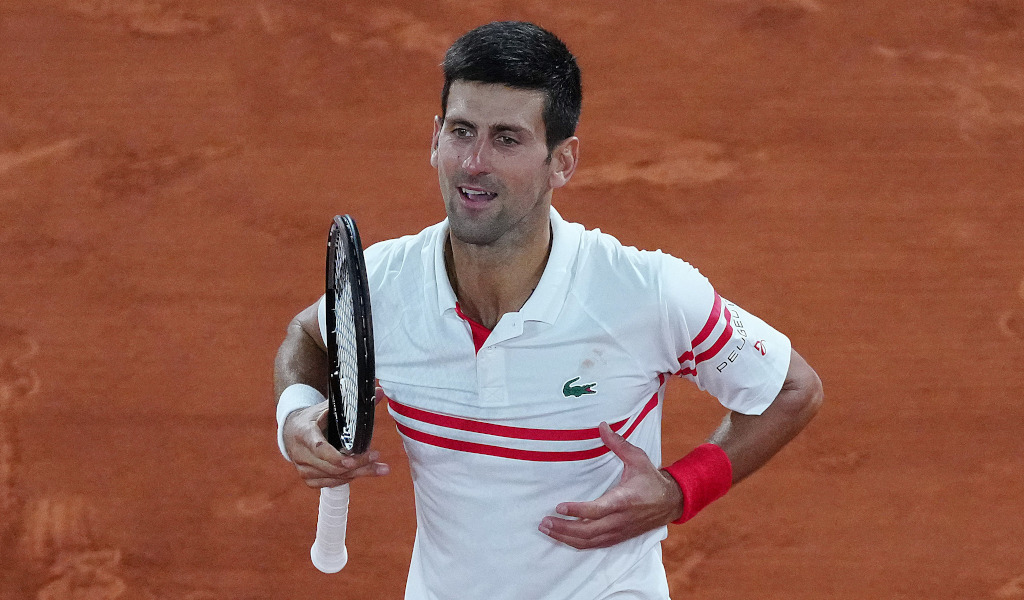 The famous Novak Djokovic celebration