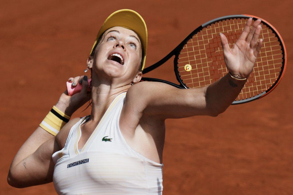 Anastasia Pavlyuchenkova serving