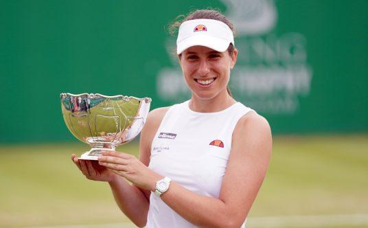 Johanna Konta lifts the Viking Open trophy