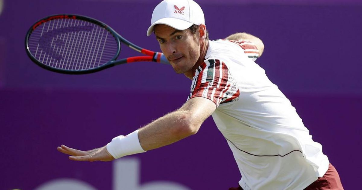 Andy Murray in action at Queen's Club