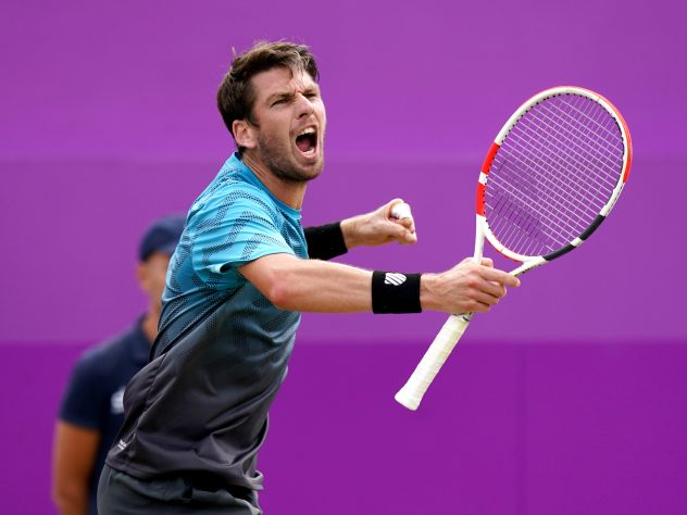 Great Britain's Cameron Norrie celebrates winning the second set