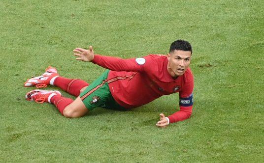 Cristiano Ronaldo hits the deck