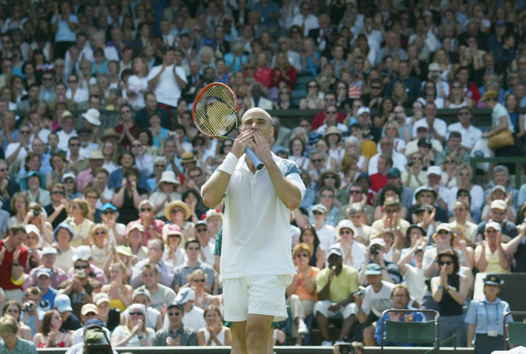 Andre Agassi celebrating