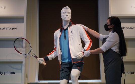 Roger Federer's Champion outfit and racket, French Open, 2009, Christie's auction