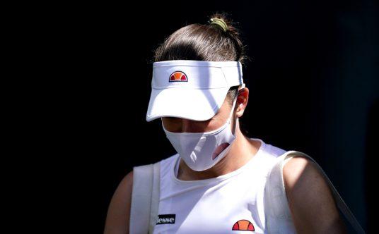 Johanna Konta leaves the court