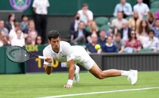 Novak Djokovic slipping at Wimbledon