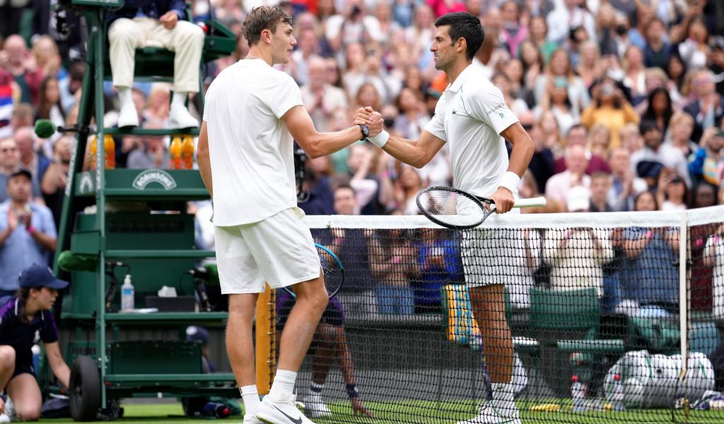 Jack Draper and Novak Djokovic at Wimbledon