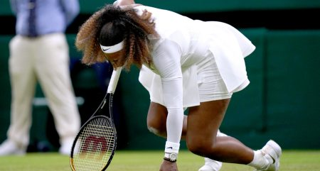Serena Williams falls on Centre Court at Wimbledon