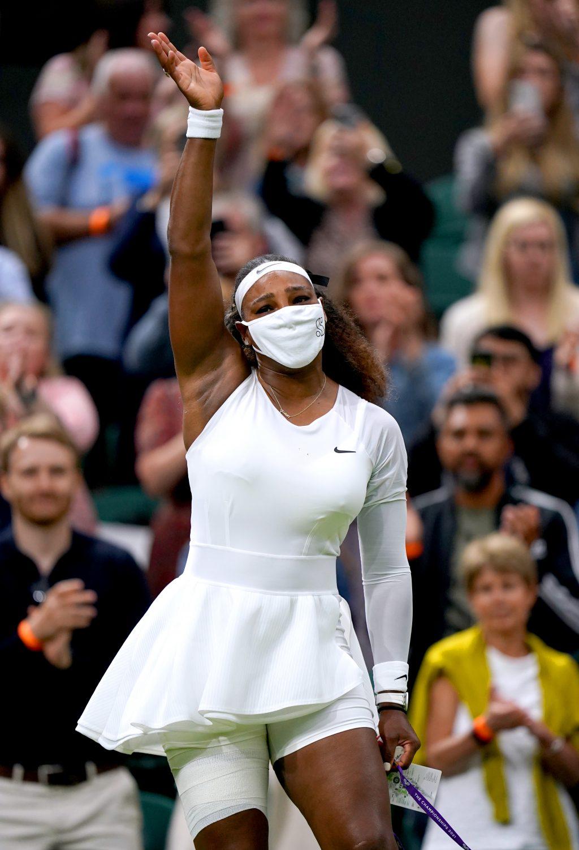 Serena Williams waves goodbye
