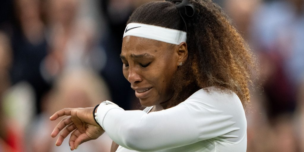 A tearful Serena Williams