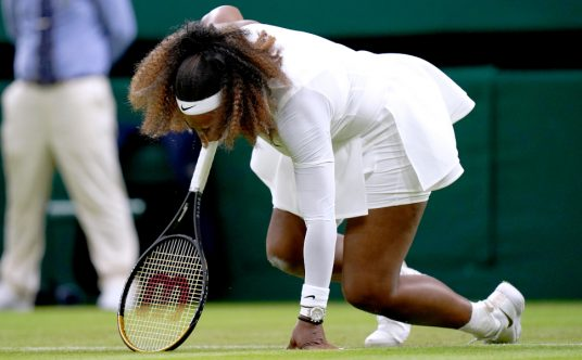 Serena Williams slipping on Wimbledon Centre Court