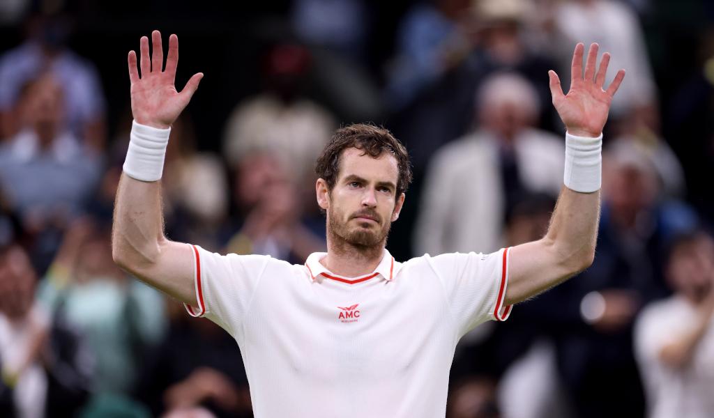 Andy Murray celebrates at Wimbledon