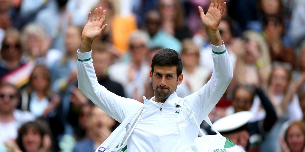 Novak Djokovic waving
