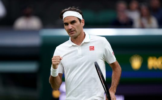 A Roger Federer fist pump