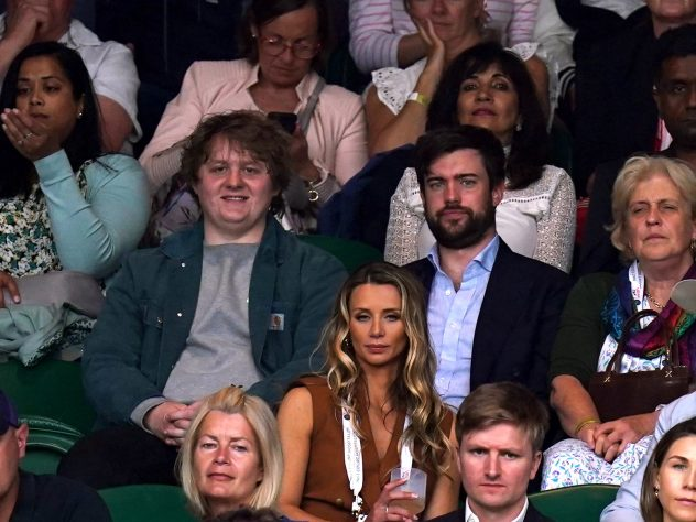 Lewis Capaldi (left) and Jack Whitehall watch play during the Ladies' singles match between Aryna Sabalenka and Ons Jabeur