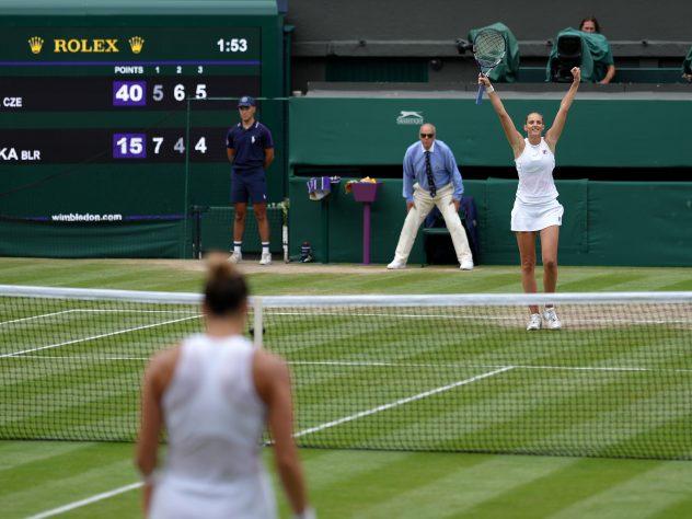 Karolina Pliskova celebrates victory against Aryna Sabalenka