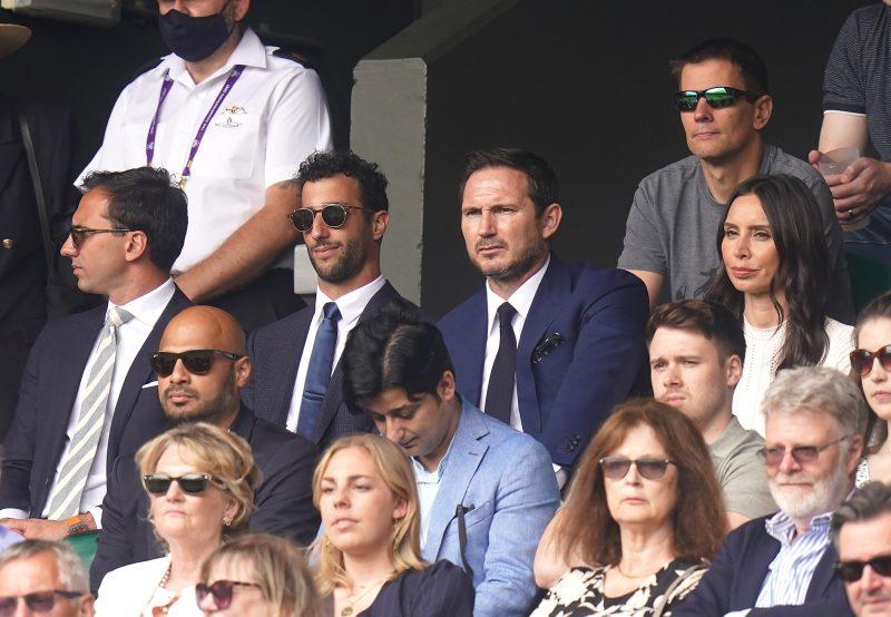 Formula One driver Daniel Ricciardo, former footballer Frank Lampard and his wife Christine Lampard at Wimbledon Royal Box