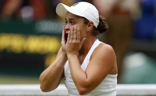 Ashleigh Barty reacts after winning Wimbledon