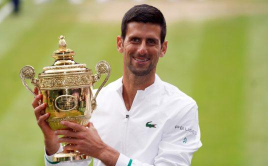 Novak Djokovic with the Wimbledon trophy