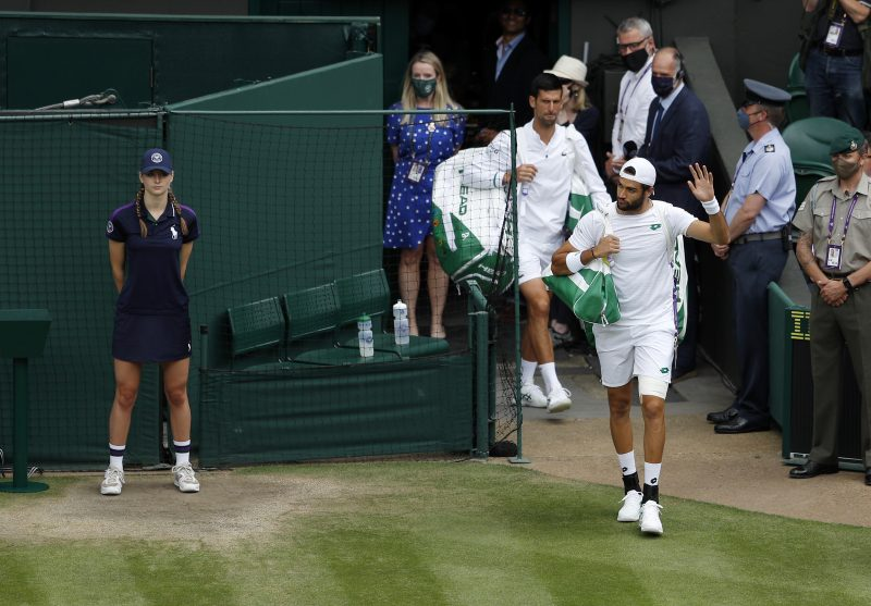 Matteo Berrettini and Novak Djokovic arrive on Centre Court