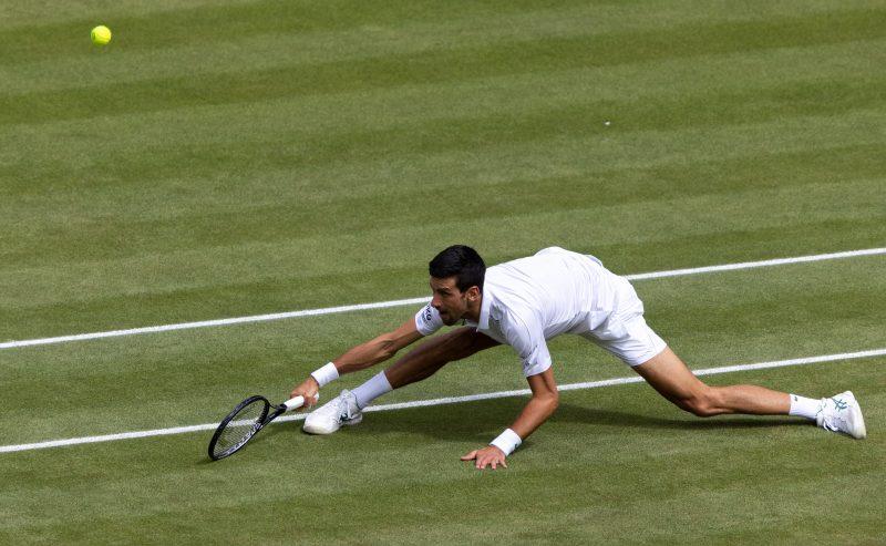 Novak Djokovic on the slide