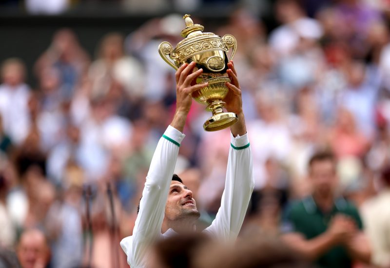 Novak Djokovic lifts Wimbledon trophy