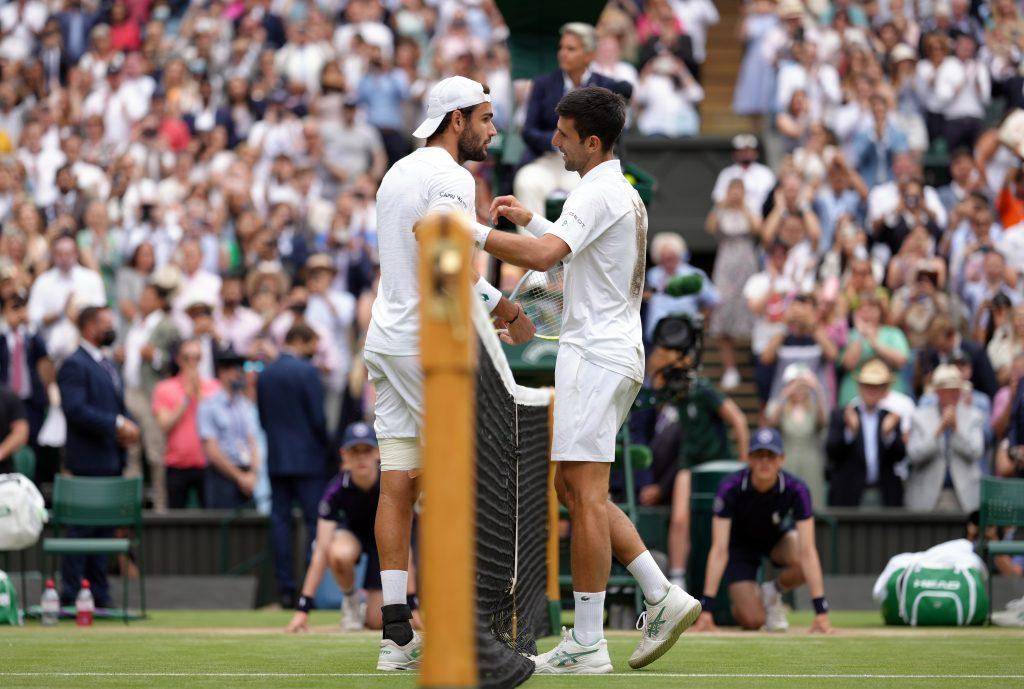 Matteo Berrettini and Novak Djokovic