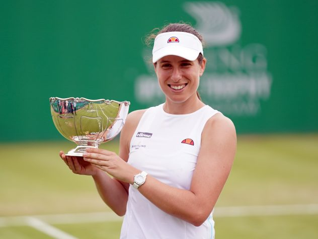 Johanna Konta with the trophy at the WTA Viking Open in Nottingham