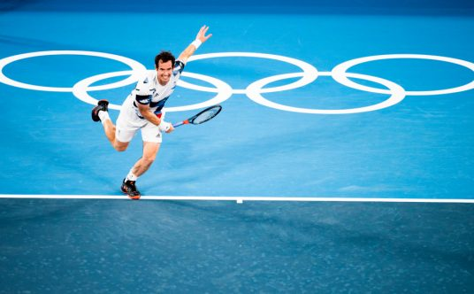 Andy Murray serving at the Olympics