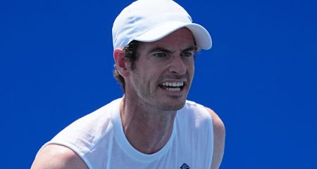 Andy Murray in action