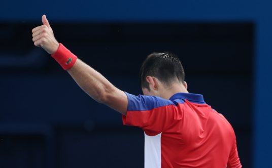 Thumbs up from Novak Djokovic