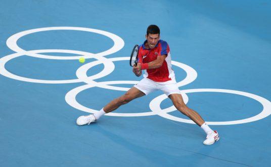 Novak Djokovic in action at the Olympics