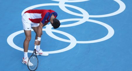 Novak Djokovic taking strain