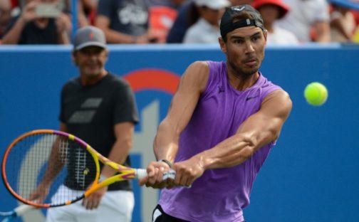 Rafael Nadal at practise