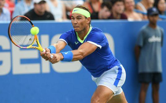 Rafael Nadal plays a shot at Washington Open