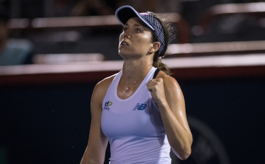 Danielle Collins fist pump after victory