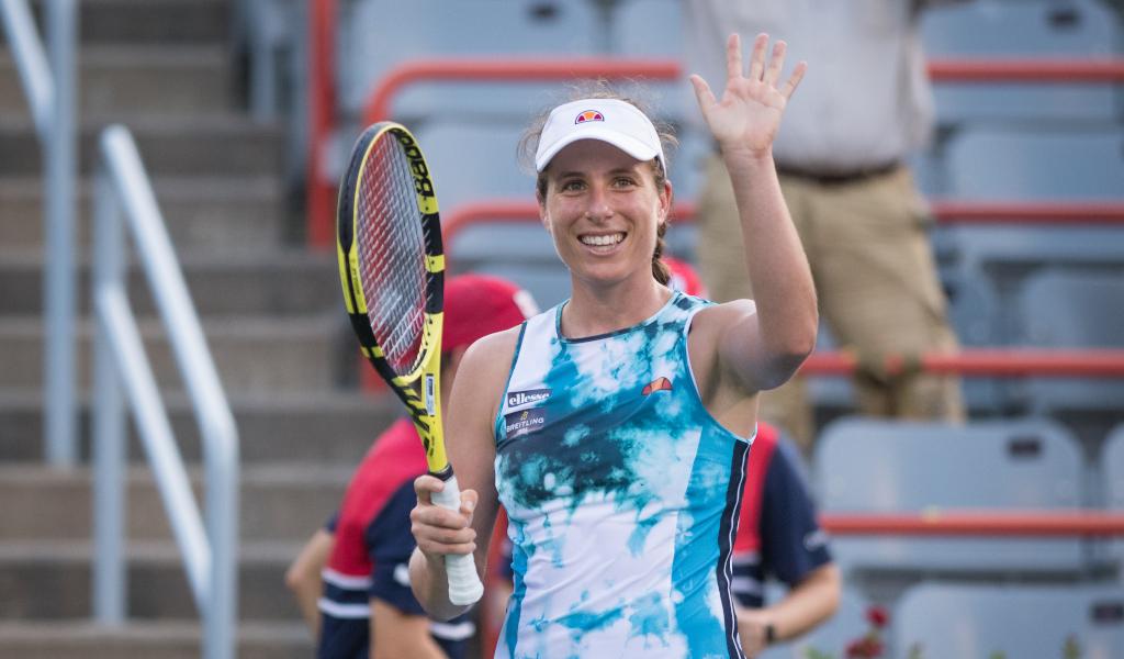 Johanna Konta celebrates
