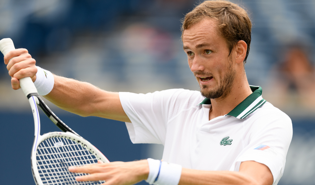 An animated Daniil Medvedev in action
