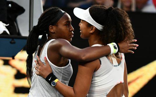 Coco Gauff and Naomi Osaka share a hug