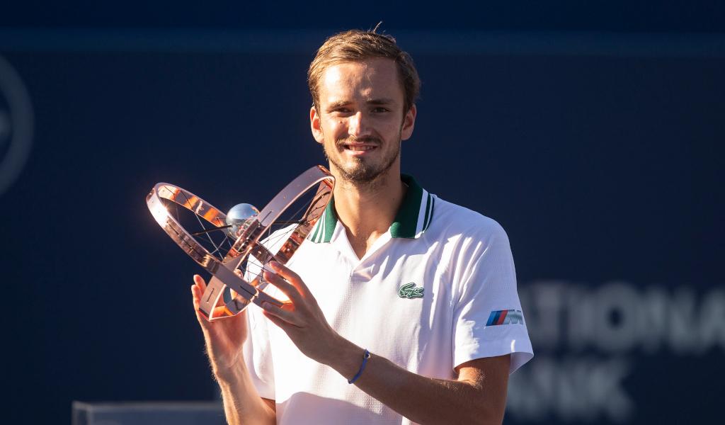 Daniil Medvedev lifts the Canadian Open trophy