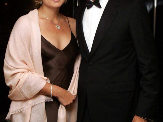 Federer with then girlfriend, now wife, Mirka Vavrinec at the 2005 Wimbledon champions' dinner