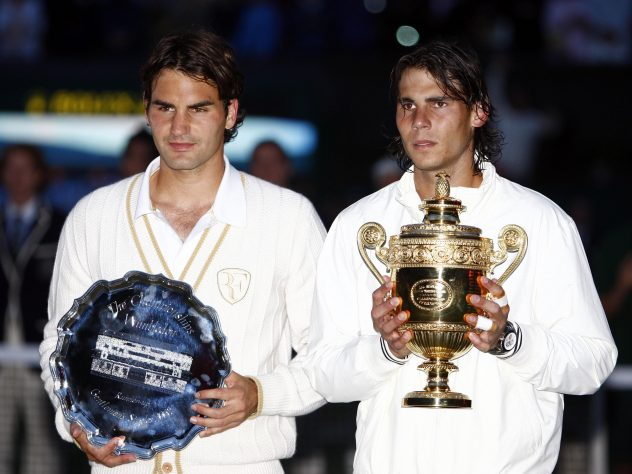 A first Wimbledon final defeat for Federer as he is beaten by Nadal in 2008