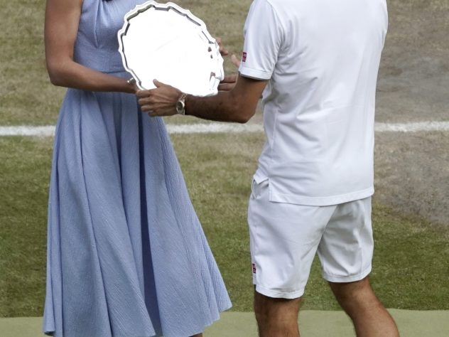 He collected another Wimbledon runner-up trophy in 2019, presented by the Duchess of Cambridge