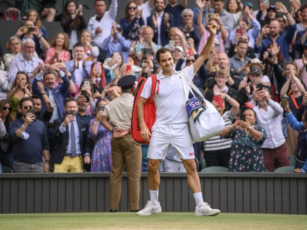 A final Wimbledon wave? Federer salutes the crowd after his defeat to Hubert Hurkacz in the quarter-finals at this year's Wimbledon