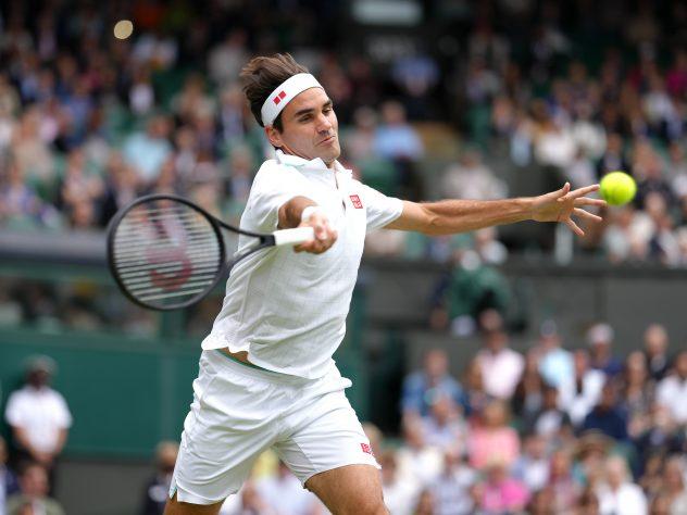 Roger Federer in action at Wimbledon