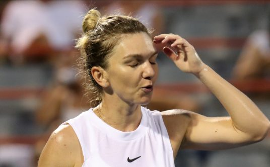 Simona Halep reacts during a match