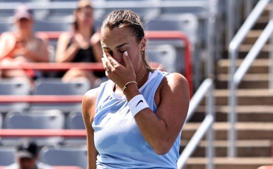 Aryna Sabalenka reacts during a match
